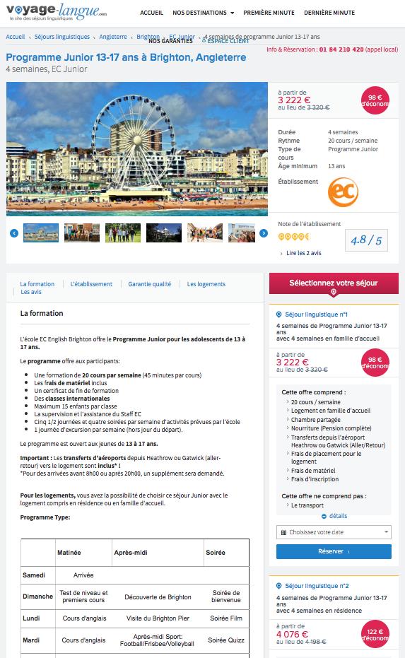 Site web de Voyage-Langue