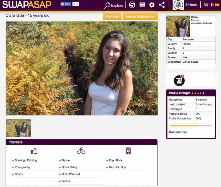 Exemple d'une jeune fille voulant faire un échange de séjours avec Swapasap