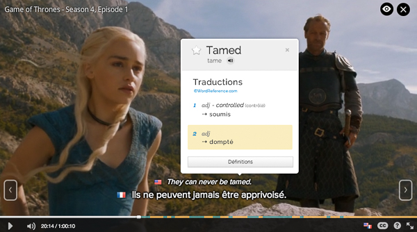 Exemple de sous-titres Fleex sur la série Game of Thrones