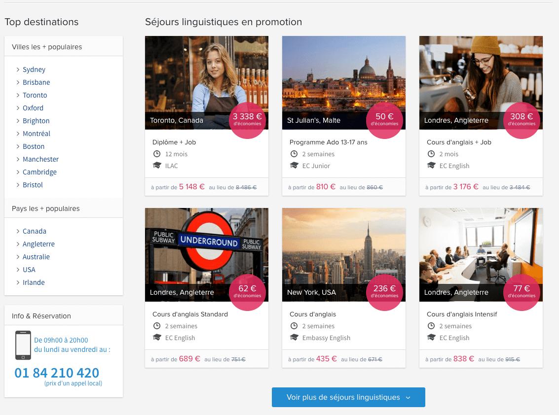 Capture d'écran de promotions sur le site de Voyage-langue