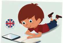 Dessin d'enfant lisant un livre en anglais immersif