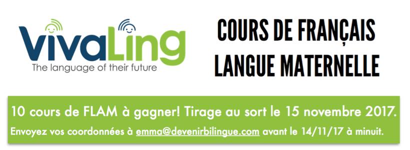 Tirage au sort pour gagner 10 cours de français Vivaling