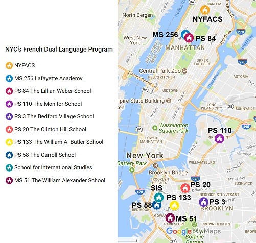 Carte des écoles publiques offrant un Dual Language Program à New York