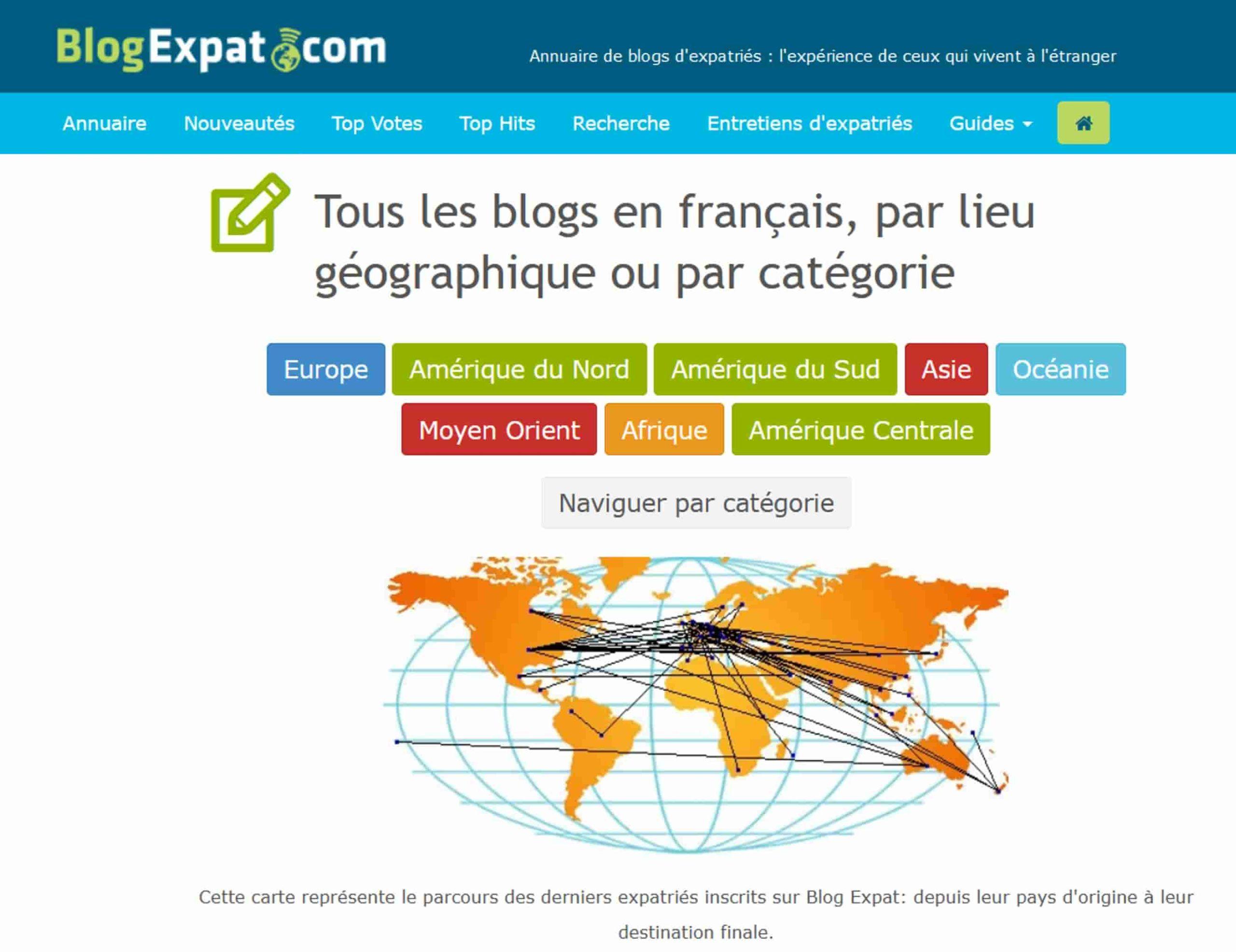 Aperçu du site BlogExpat.com qui rassemblent les blogs d'expat francophones