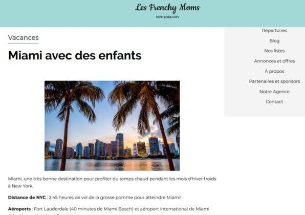Un exemple d'article de Les Frenchy Moms