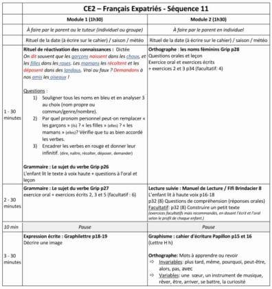 Leçon et exercices de français du Cours Griffon Primaire, CE2