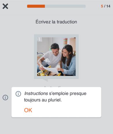 Exemple de conseil : le mot Instructions s'emploie presque toujours au pluriel