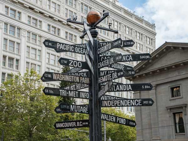 S'assurer pour partir en voyage - Panneaux en direction du monde entier