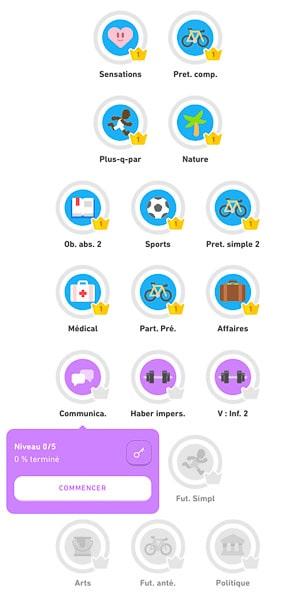Liste des leçons Duolingo Niveau 3