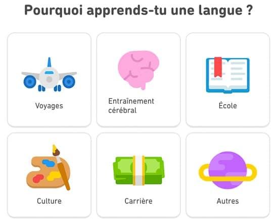 Pourquoi apprendre une langue : voyage, école, culture, carrière, entrainement cérébral, autres