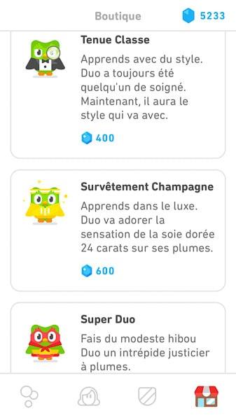 Leçons Duolingo personnalisées avec le hibou Duo