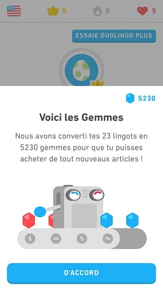 23 lingots Duolingo valent 5230 gemmes
