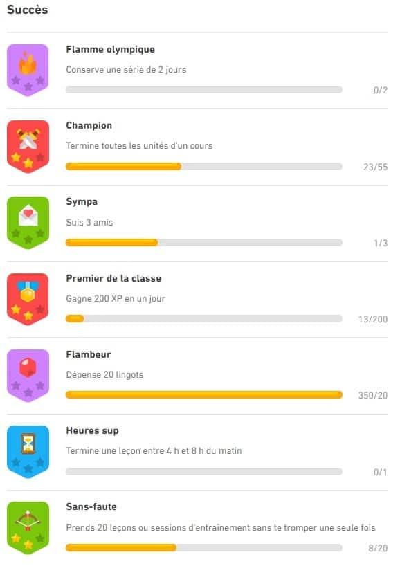 Liste des succès enregistrés sur Duolingo