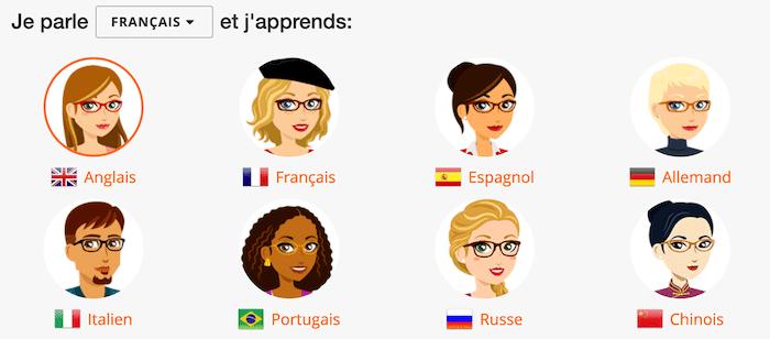 Les 8 langues à apprendre avec Mosalingua : Anglais, Espagnol, Chinois, Allemand, Italien, Russe, Portugais, et Français