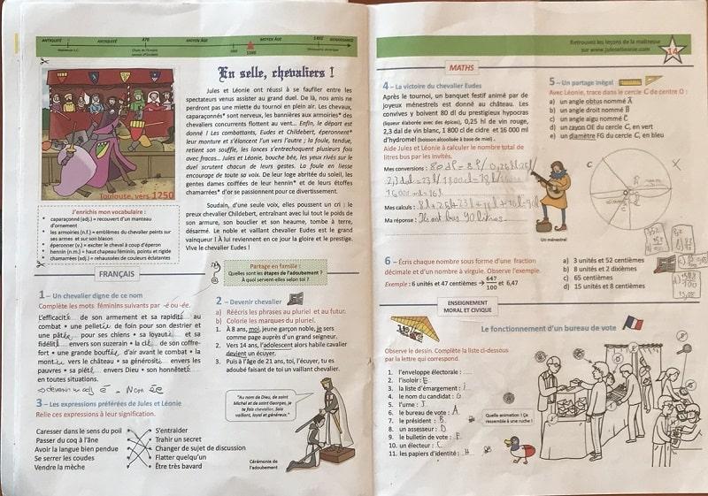 Une double page d'exercices du cahier de vacances Jules et Léonie