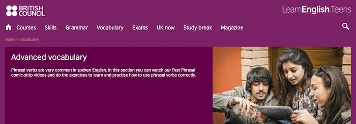 Exercices de vocabulaire et grammaire en anglais sur le site éducatif British Council Teens