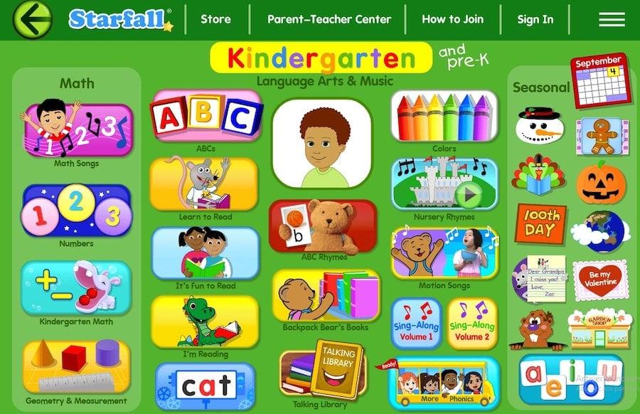 Activités en anglais pour les enfants en maternelle sur le site éducatif Starfall