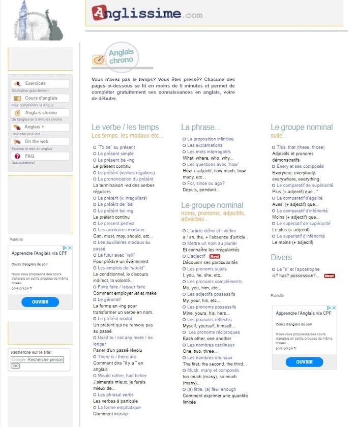 Beaucoup d'exercices d'anglais pour enfants et ados sur le site Anglissime