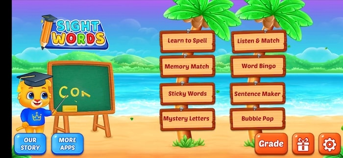 Menu de l'application Sight Words pour enfants