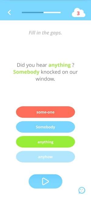 Exemple d'une phrase à trous en anglais