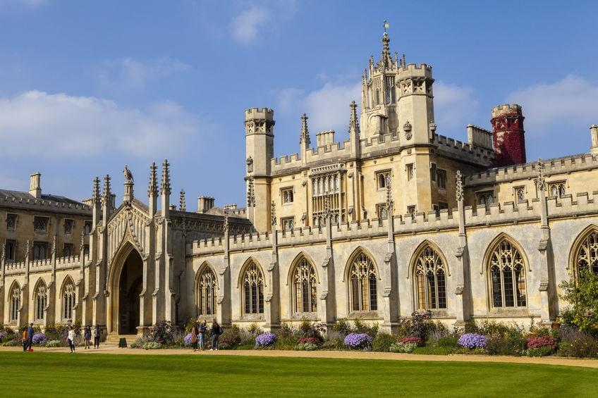 Le St John's College, très belle université renommée à Cambridge en Angleterre