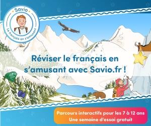 1 semaine d'essai gratuit sur les parcours interactifs pour les 7-12 ans, pour réviser le français en s'amusant avec Savio.fr